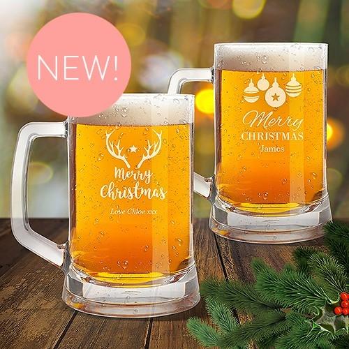 Christmas Glass Beer Mugs