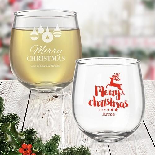 Christmas Stemless Wine
