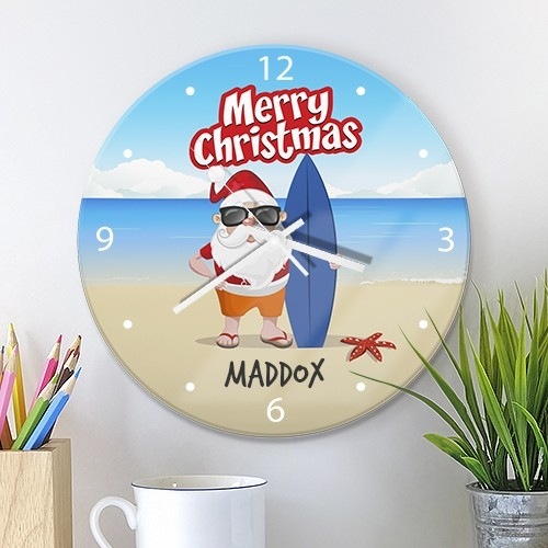 Christmas Glass Wall Clocks