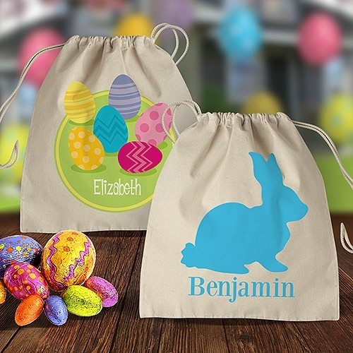 Easter Calico Drawstring Bags