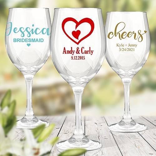 Colour Printed Stem Wine Glasses