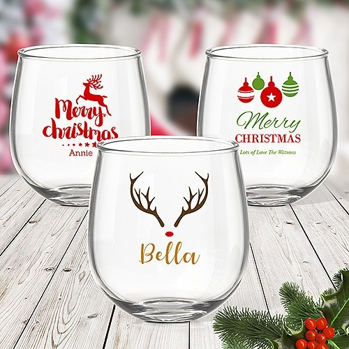 Colour Printed Stemless Wine Glasses