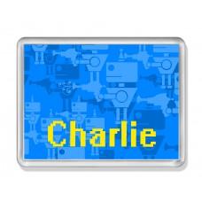 Fridge Magnet with Blue Robots