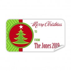 Christmas Gift Label with Green Tree
