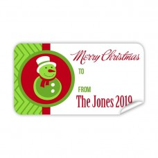 Christmas Gift Label with Green Snow Man