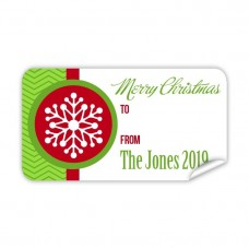 Christmas Gift Label with Red Snow Flake