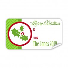 Christmas Gift Label with Red Holly