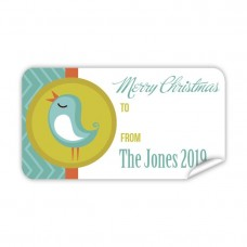 Christmas Gift Label with Blue Bird
