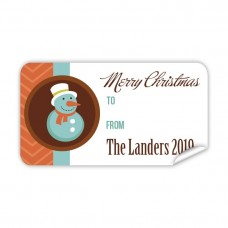 Christmas Gift Label with Snow Man