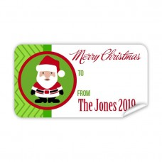 Christmas Gift Label with Green Santa