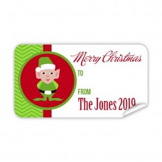 Christmas Gift Label with Green Elf