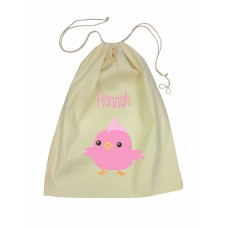 Drawstring Library Bag with Pink Chicken