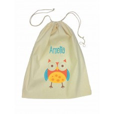Drawstring Library Bag with Red Owl