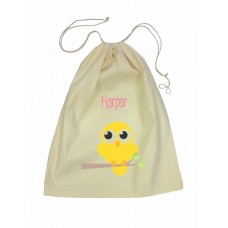 Drawstring Library Bag with Yellow Bird