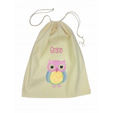 Drawstring Library Bag with Pink Owl