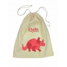 Drawstring Library Bag with Red Dinosaur