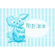 Easter Postcard, Blue Bunny Design