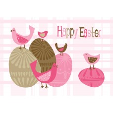 Easter Postcard, Pink Birds Design