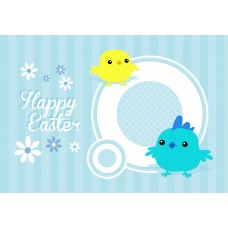 Easter Postcard, Blue Birds Design