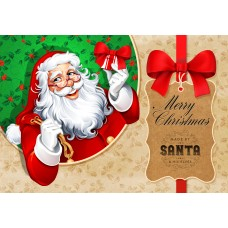 Santa Postcard, Santa with Gift Design