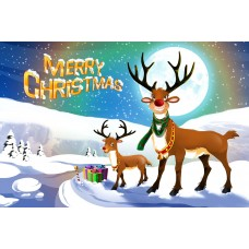Santa Postcard, Reindeer in Snow Design