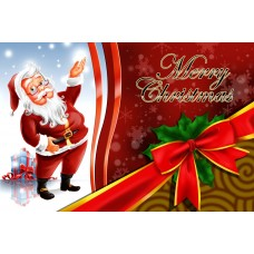 Santa Postcard, Ribbon Design