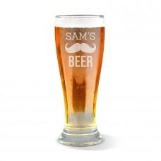 Moustache Engraved Premium Beer Glass
