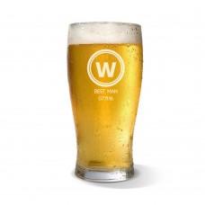 Initial Engraved Standard Beer Glass
