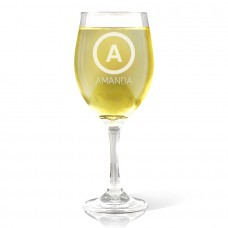 Initial Engraved Wine Glass
