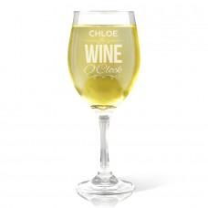 Wine O'Clock Engraved Wine Glass