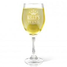 Crown Design Engraved Wine Glass
