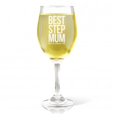Best Step Mum Wine Glass - White