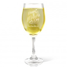 Happy Mother's Day Wine Glass - White