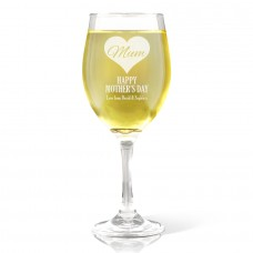Mum in Heart Wine Glass - White