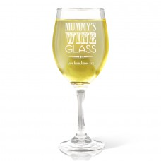 Mummy's Wine Glass - White