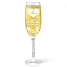 Mum In Heart Champagne Glass