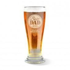 Best Dad Engraved Premium Beer Glass