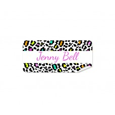 Rainbow Leopard Rectangle Name Label