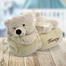 Embroidered Blanket with Bear