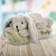 Embroidered Blanket with Rabbit