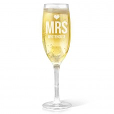 Mrs Heart Champagne Glass