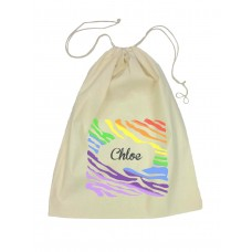 Drawstring Library Bag with Rainbow Design