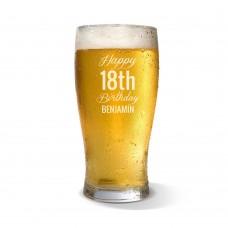 Fancy Happy Birthday Engraved Standard Beer Glass
