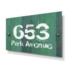 Green Wood Panel Effect Metal House Sign
