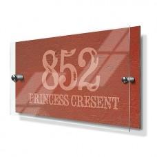 Orange Cement Effect Premium Acrylic Front House Sign