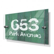 Green Wood Panel Effect Premium Acrylic Front House Sign