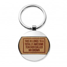 Awesome Teacher Round Metal Keyring