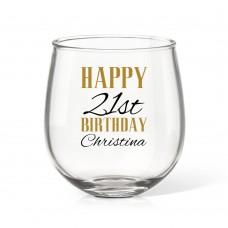 Birthday Stemless Wine Glass