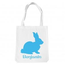 Blue Bunny White Tote Bag
