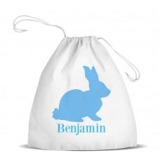 Blue Bunny White Drawstring Bag
